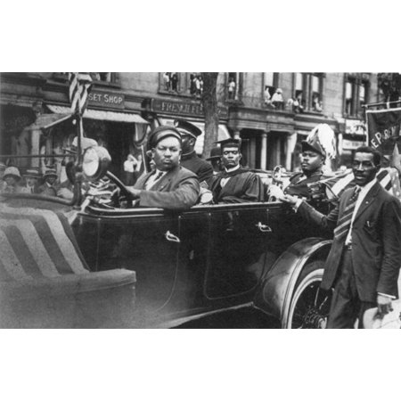 Marcus Garvey (1887-1940) Njamaican Black-Nationalist Leader Garvey (Back Seat In Regalia) Riding In A Universal Negro Improvement Association Parade In Harlem New York City 1924 Photographed By - New York City Halloween Parade Photos