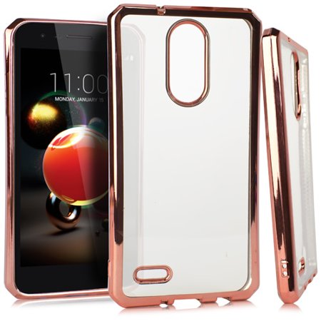 MUNDAZE Rose Gold Metallic Edge Deluxe Candy TPU Case For LG K8+ / K8 (2018) Phone