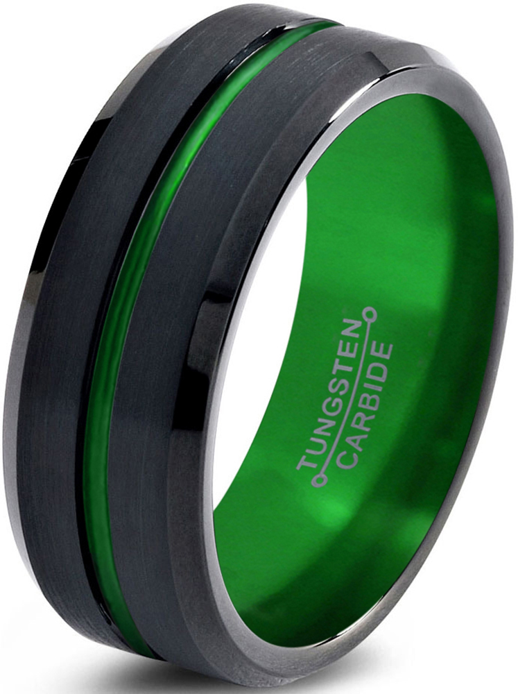 Tungsten Wedding Band Ring 10mm for Men Women Green Black Beveled Edge Brushed Polished Lifetime Guarantee by Charming Jewelers