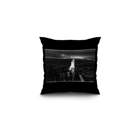 Colorado Springs, Colorado - Will Rogers Shrine of the Sun on Cheyenne Mt at Night Photograph (16x16 Spun Polyester Pillow, Black (Cheyenne Bedding)