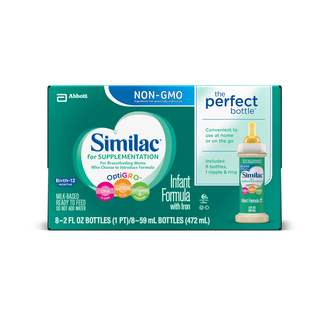 Similac for Supplementation, Ready to Feed, NON-GMO, 2 fl oz (Pack of 8)