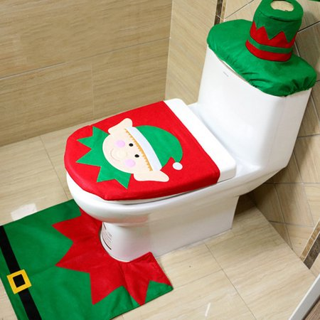 New 3 Pieces Christmas Decoration Snowman Style Toilet Seat Cover For Bathroom Fairy Horse