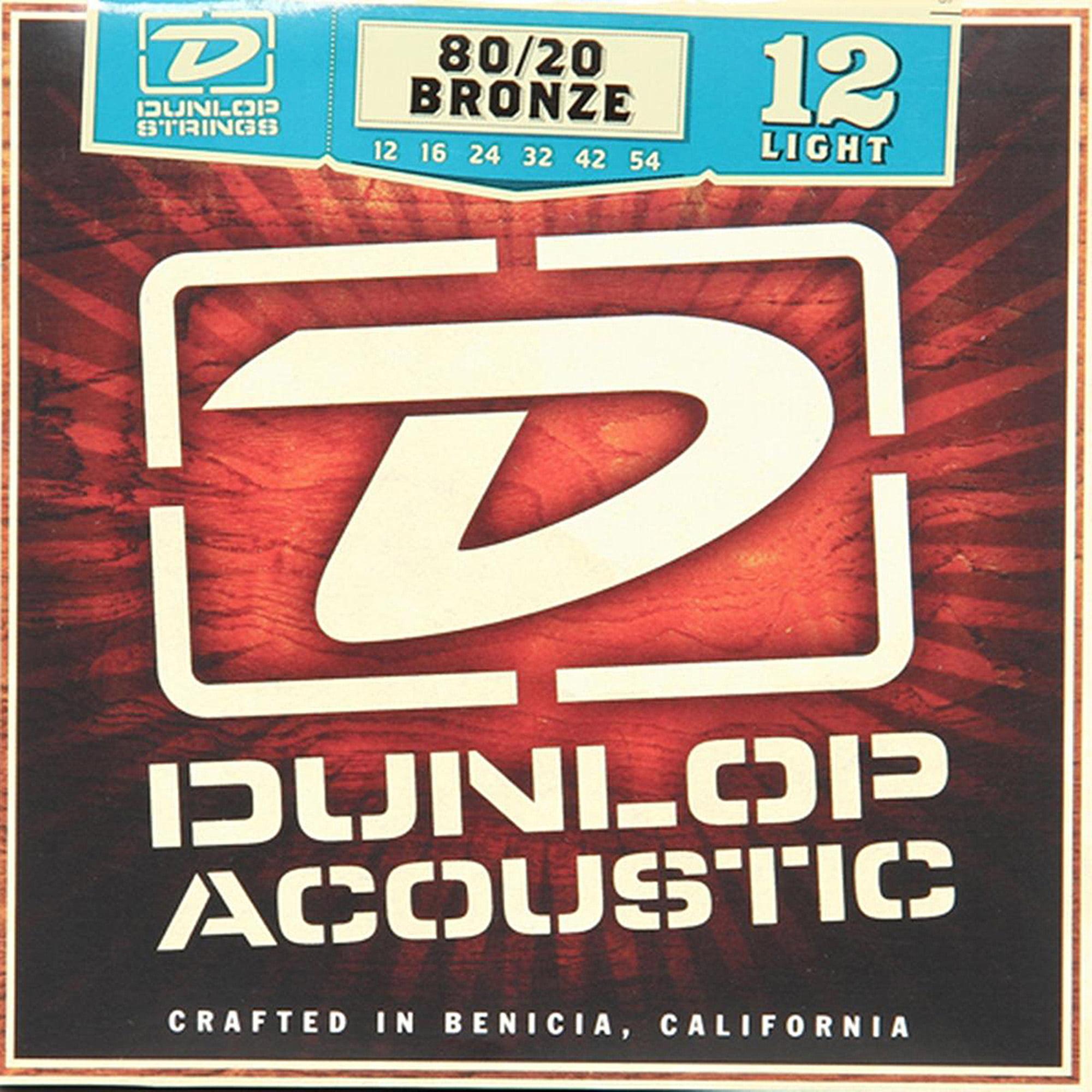 Dunlop DAB1254 80 20 Light Acoustic, 6-String Guitar Set, 012-.054 by Dunlop