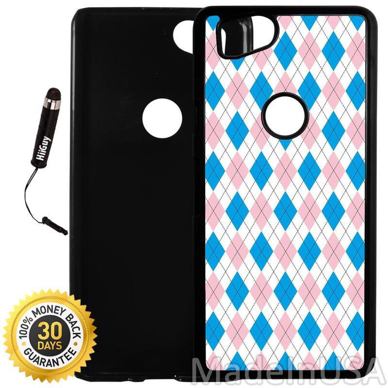 Custom Google Pixel 2 Case (Blue Pink Argyle Pattern) Plastic Black Cover Ultra Slim | Lightweight | Includes Stylus Pen by Innosub