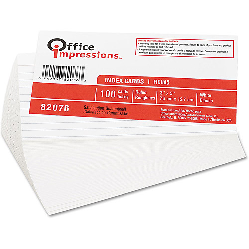 "Office Impressions 3""x5"" Ruled Index Cards, 100 count"