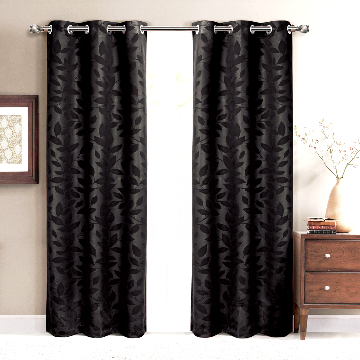 Virginia (Set of 2) Blackout weave Grommet Curtain Panels