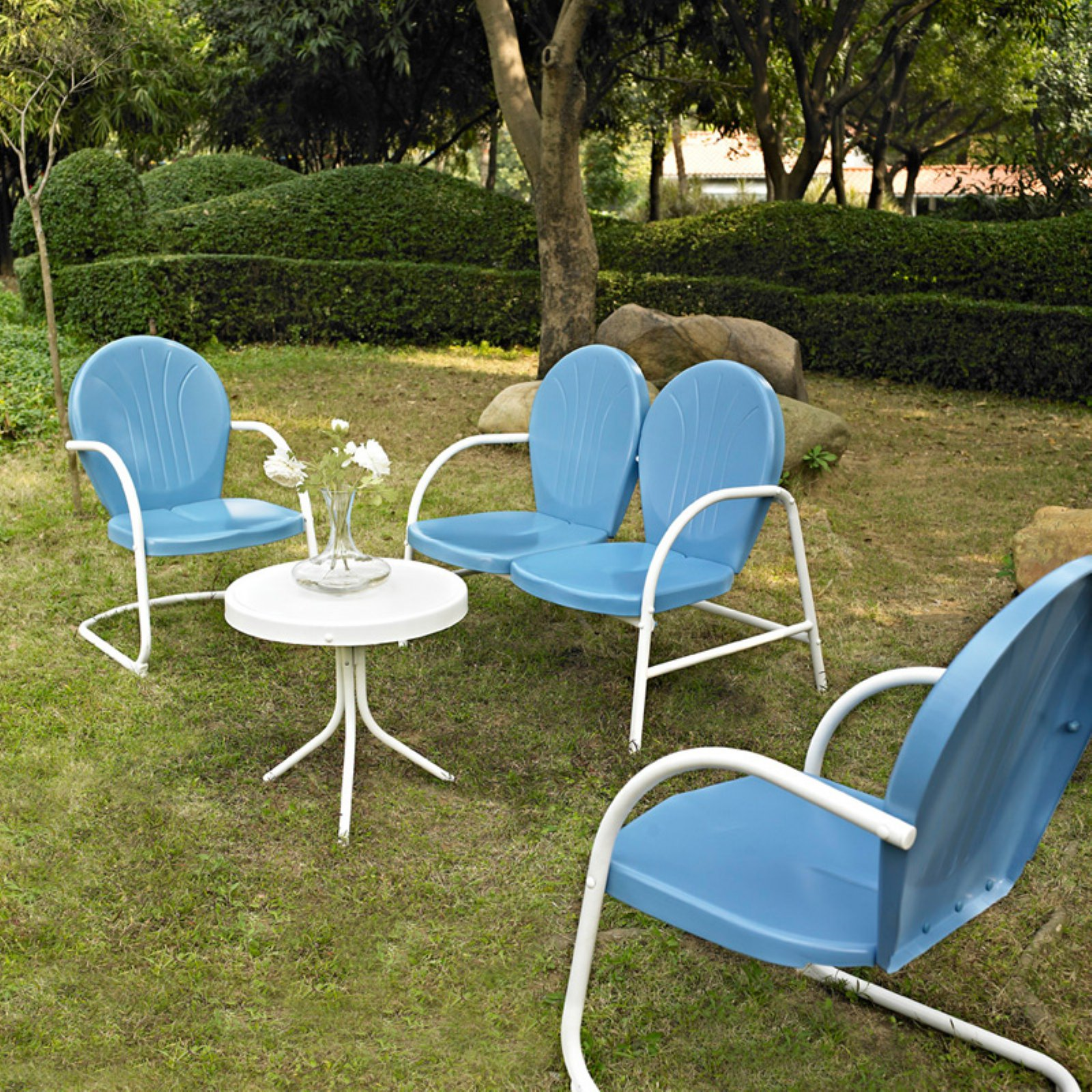 Crosley Furniture Griffith 4-Piece Metal Outdoor Conversation Seating Set