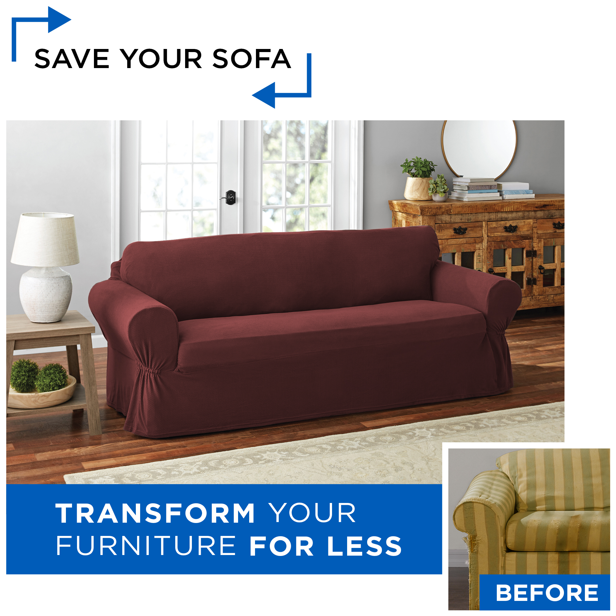 Picture of: Mainstays Pixel 1 Piece Stretch Sofa Slipcover Sand Walmart Com Walmart Com