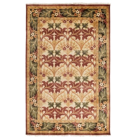 - 2' x 3' Frosted Oasis Claret Red, Cinnamon Brown and Forest Green Wool Area Rug