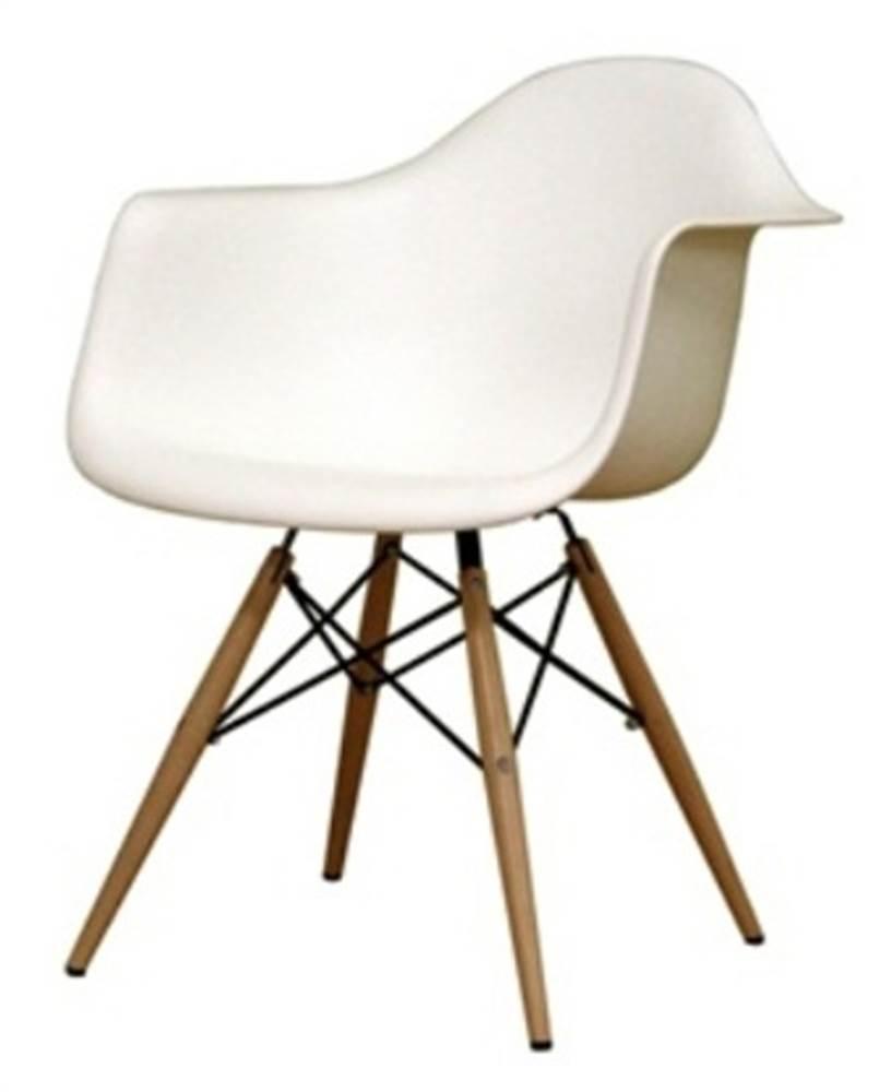 Wood Leg Dining Armchair in White by Supplier Generic