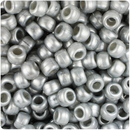 BeadTin Medium Silver Pearl 9mm Barrel Pony Beads (500pc) (Beaded Pearls)