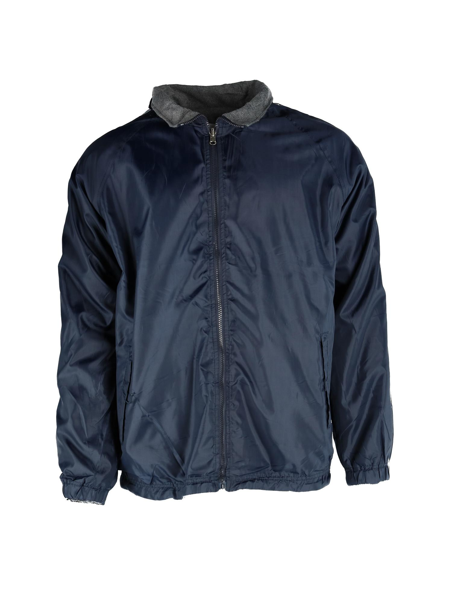 Ten West Apparel Mens Reversible Fleece and Windbreaker Rain Jacket with Stripes