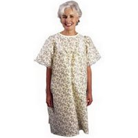 LadyLace Patient Gown with Short Sleeves, One Size, Pink Rosebud-1 Each