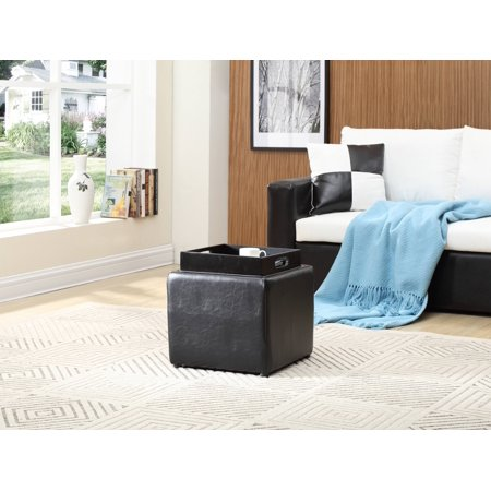 Hodedah Single Storage Ottoman with 1-Flip Tray, Black ()