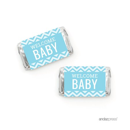 Baby Blue Chevron Baby Shower Hershey´s Miniatures Mini Candy Bar Wrappers, - Baby Shower Candy Bar Wrappers