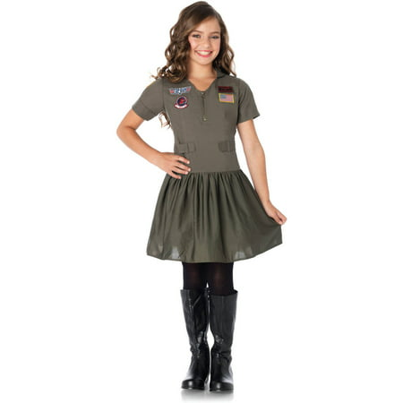 Top Gun Flight Dress Halloween Costume (Leg Avenue Top Gun Girl's Flight Dress Child Halloween)
