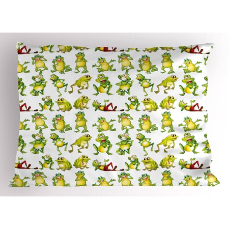 Nursery Pillow Sham Frogs in Different Positions Funny Happy Cute Expressions Faces Toads Cartoon, Decorative Standard Size Printed Pillowcase, 26 X 20 Inches, Green Yellow Red, by