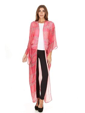 Laundry by Shelli Segal Women Sheer Loose Kimono Cardigan Cape Cover Up Blouse (Magenta)