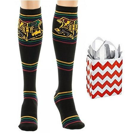 Harry Potter Junior Womens' Striped Knee High Socks & Bag - Multi-Pack
