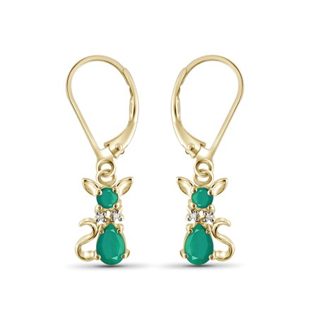 1 1/2 Carat T.G.W. Emerald And White Diamond Accent 14k Gold Over Silver Dangling Earrings 14k White Gold Dangling Earrings