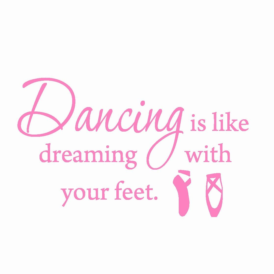 VWAQ Dancing is Like Dreaming With Your Feet... Dance Wall Decals Inspirational Quotes Sayings Stickers Girls Room Decor (Purple)