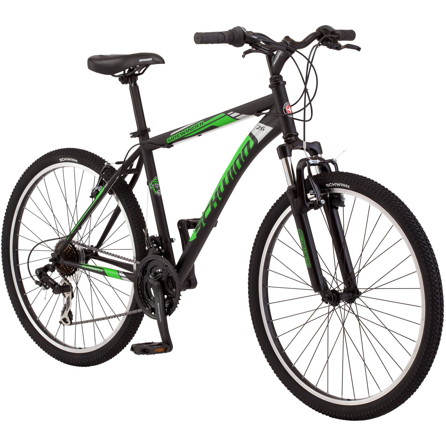 "26"" Schwinn Sidewinder Men's Mountain Bike, Matte Black/Green"