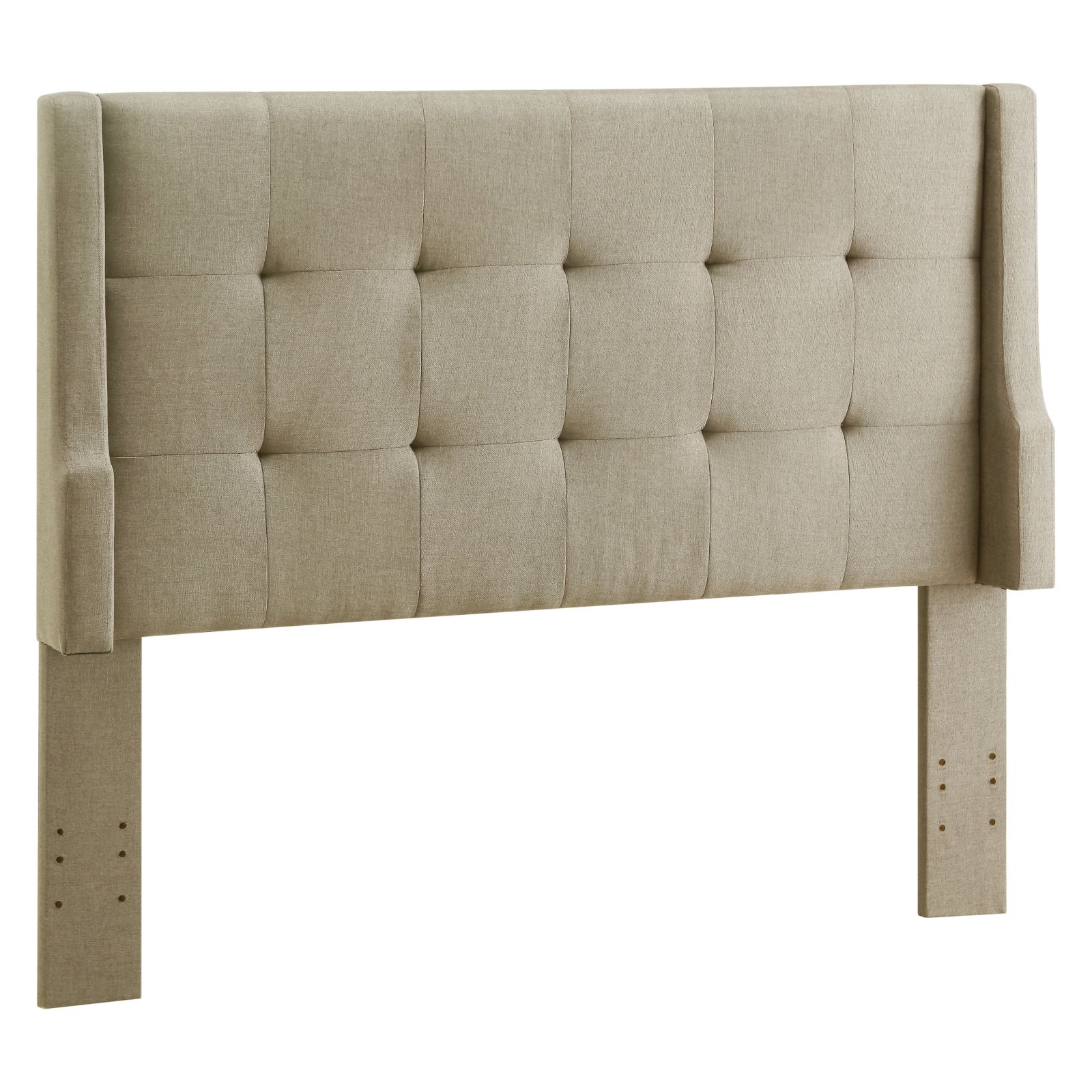 Linon Luxe Full/Queen Headboard, Natural Linen with Tufted Accents