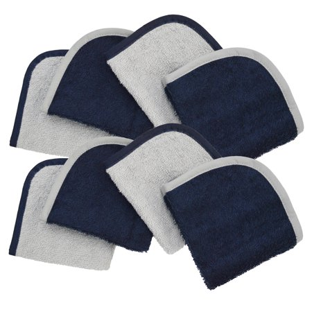 American Baby Company Terry Washcloths Made with Organic Cotton, Dark Navy, 8 Count, for