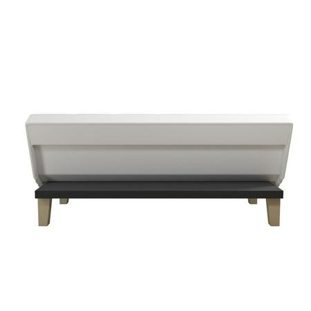 DHP Aria Futon Sofa Bed, White Faux Leather Upholstery ...  |Aria Futon Sofa Bed