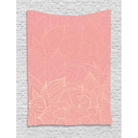 Floral Tapestry, Pastel Toned Nature Inspired Leaf Figures Background Botany Themed Illustration, Wall Hanging for Bedroom Living Room Dorm Decor, Coral Peach, by - Pastel Floral Tapestry