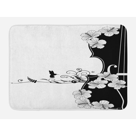 Art Nouveau Bath Mat, Flower Musical Composition with Bird Scrolled Lily Petals Nature Growth, Non-Slip Plush Mat Bathroom Kitchen Laundry Room Decor, 29.5 X 17.5 Inches, Black and White, (Nouveau Lily)