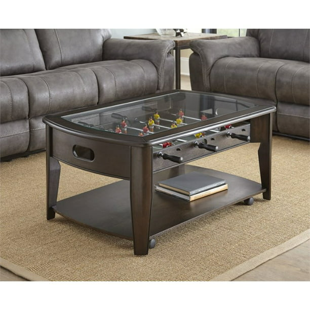 Steve Silver Diletta Foosball Game Coffee Table with Casters in Walnut