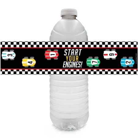 Race Car Birthday Water Bottle Labels 24ct - Race Car Theme Party Decoration Supplies - 24 Count Sticker Labels - Cars Birthday Theme Ideas