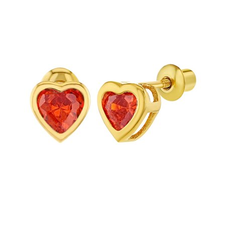 18k Gold Plated CZ Heart Bezel Screw Back Toddler Girls Kids Earrings 5mm