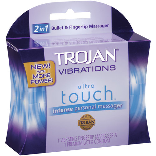 Trojan Vibrations Ultra Touch Intense Vibrating Fingertip & Condom Personal Massager