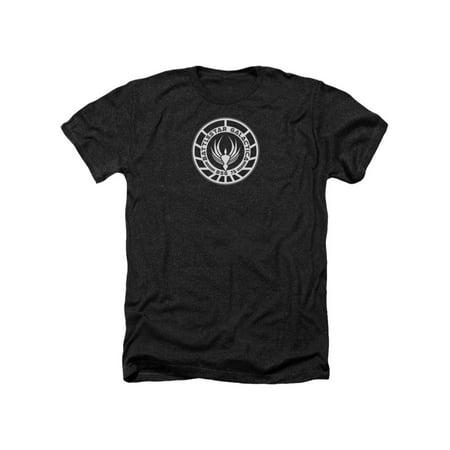 Battlestar Galactica Costume (Battlestar Galactica BSG 75 Badge Costume Sci Fi TV Adult Heather T-Shirt)