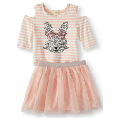 Sequin Bunny Cold Shoulder Tee and Mesh Tutu Skirt, 2-Piece Outfit Set (Little Girls and Big Girls) - Female Detective Outfit