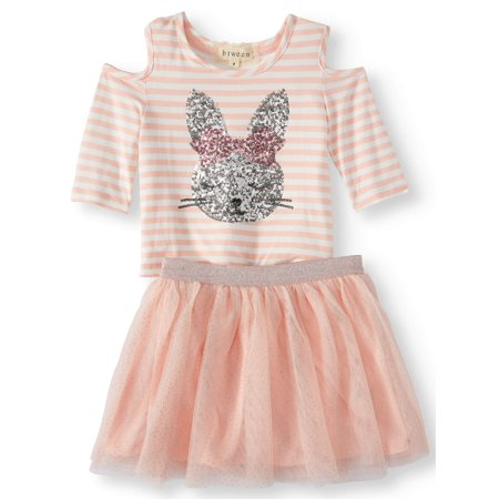 Sequin Bunny Cold Shoulder Tee and Mesh Tutu Skirt, 2-Piece Outfit Set (Little Girls and Big Girls) - Little Girls Clothing Store