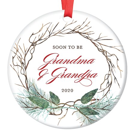 Pregnancy Announcement Ornament, You're Going To Be Grandparents in 2019 Christmas Announce for Soon To Be Grandma Grandpa Ceramic Present Keepsake 3