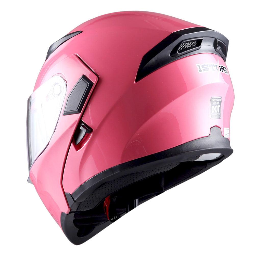 dfd51b14 1Storm Motorcycle Street Bike Modular Flip up Dual Visor Full Face Helmet  Glossy Pink HB89 - Walmart.com