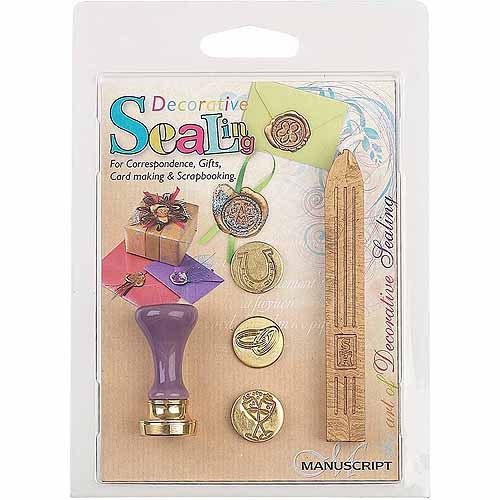 Manuscript Pen Decorative Sealing Set W/Gold Wax, Rings, Horseshoe & Glasses Coins
