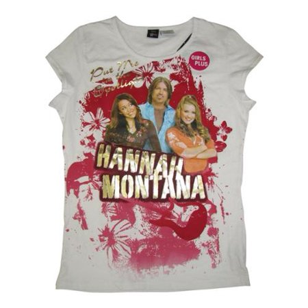 Girls White Gold Hannah Montana Print Plus Size T-Shirt 10.5-18.5 Hannah Montana Clothes