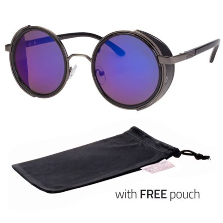 Vintage Ret Round SUN Glasses Goggles Steampunk Punk Sunglasses Black  POUCH (Sunglass Pouch)