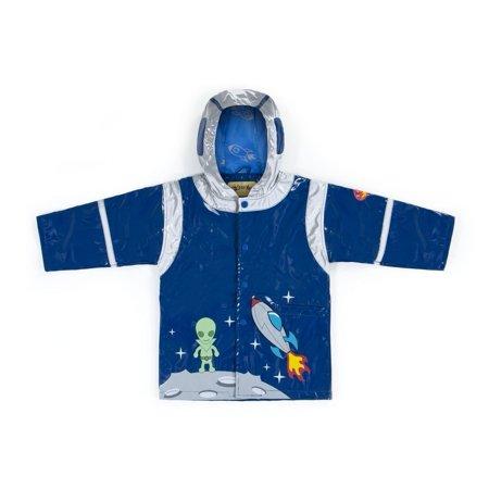 Kidorable Little Boys Blue Rocket Pocket Space Hero Hooded Rain Coat 2T-6X