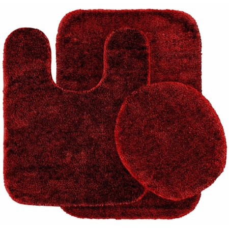 3 Pc BURGUNDY  Bathroom Set Bath Mat RUG, Contour, and Toilet Lid Cover, with Rubber Backing#6