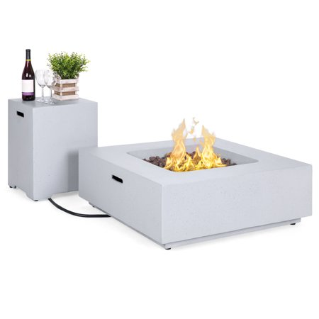 Best Choice Products 35x35-inch 40,000 BTU Square Propane Fire Pit Table for Backyard, Poolside with Gas Tank Storage Side Table, Weather-Resistant Pit Cover, Lava Rocks,