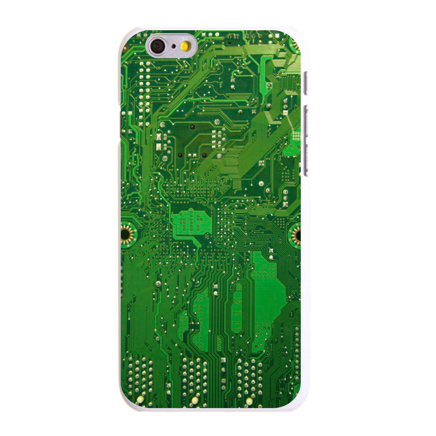 """CUSTOM White Hard Plastic Snap-On Case for Apple iPhone 6 PLUS / 6S PLUS (5.5"""" Screen) - Green Circuit Board"""