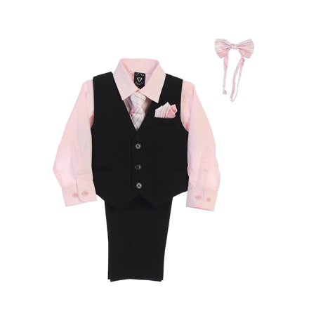 Lito Baby Boys Pink Shirt Zipper Tie Bow Tie Pinstripe Vest Pant Set