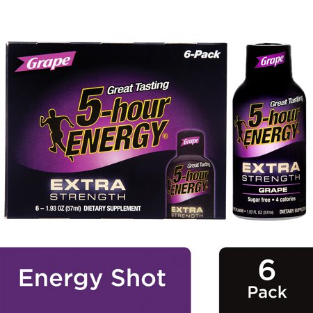 5-Hour Energy Extra Strength Energy Shot, Grape, 1.93 Fl Oz, 6 Ct