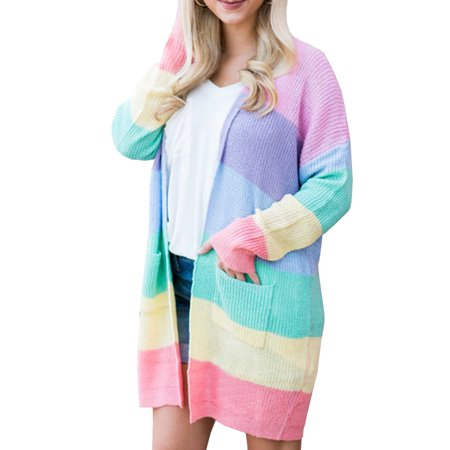 501b39de70 SySea - Stripe Long Cardigan Women Casual Open Front Knit Sweater with  Pocket - Walmart.com